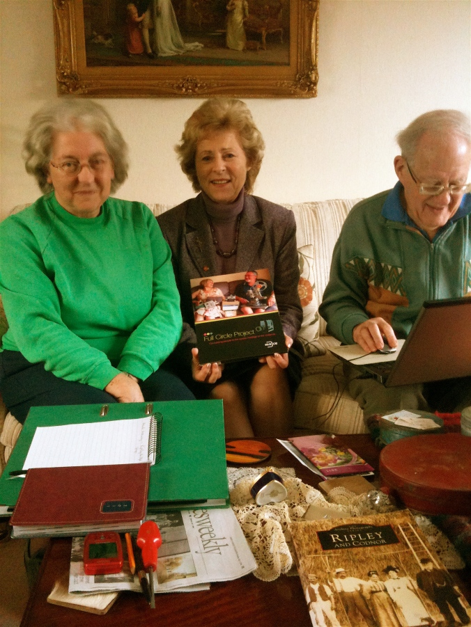 Pat Majoram of Belper History Group, Valerie Marshall and Ray Majoram