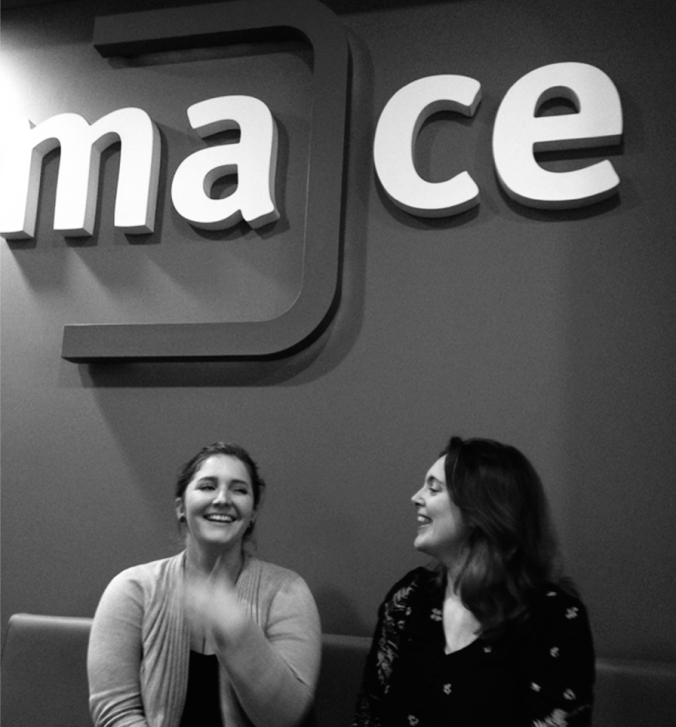 Eliza Richardson (left) and Emma Morley (right) outside MACE's offices at the University of Lincoln.