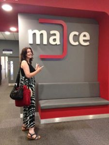 Emma Morley outside MACE's offices at the University of Lincoln